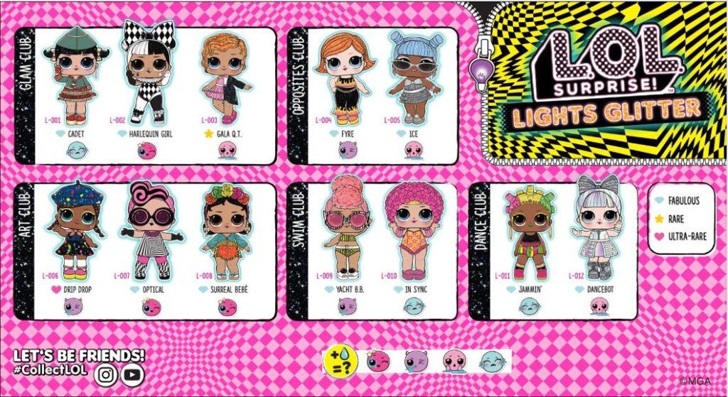 LOL Lights Glitter Dolls names